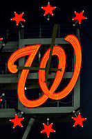 10 July 2008: The Washington Nationals neon scoreboard clock glows red in center field during a game against the Arizona Diamondbacks at Nationals Park in Washington, DC. The Diamondbacks defeated the Nationals 7-5 in 11 innings to take the rubber match of their 3-game series in the Nation's Capitol...Mandatory Photo Credit: Ed Wolfstein Photo