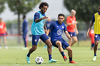FRISCO, TX - JULY 20: Gianluca Busio moves with the ball during a training session at Toyota Soccer Center FC Dallas on July 20, 2021 in Frisco, Texas.