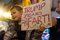 Protesters with signs gather at the Aneurin Bevan statue on Queen Street in Wales' capital city to protest Donald Trump's ban on people from certain Muslim-dominant countries from entering the US. Monday 30 January 2017