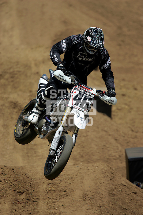 Carey Hart (46) competes in the Moto X SuperMoto race during X-Games 12 in Los Angeles, California on August 4, 2006.
