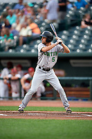 Clinton LumberKings Davis Bradshaw (5) during a Midwest League game against the Great Lakes Loons on July 19, 2019 at Dow Diamond in Midland, Michigan.  Clinton defeated Great Lakes 3-2.  (Mike Janes/Four Seam Images)