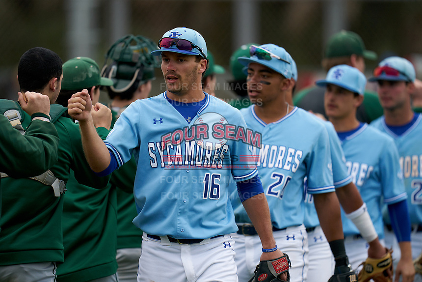 Indiana State Sycamores Brandt Nowaskie (16) and Sean Ross (20) after a game against the Dartmouth Big Green on February 21, 2020 at North Charlotte Regional Park in Port Charlotte, Florida.  Indiana State defeated Dartmouth 1-0.  (Mike Janes/Four Seam Images)