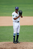 Princeton Rays relief pitcher Steffon Moore (38) gets ready to deliver a pitch during the first game of a doubleheader against the Greeneville Reds on July 25, 2018 at Hunnicutt Field in Princeton, West Virginia.  Princeton defeated Greeneville 6-4.  (Mike Janes/Four Seam Images)