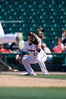 Rochester Red Wings first baseman ByungHo Park (52) waits for a throw during a game against the Scranton/Wilkes-Barre RailRiders on June 7, 2017 at Frontier Field in Rochester, New York.  Scranton defeated Rochester 5-1.  (Mike Janes/Four Seam Images)