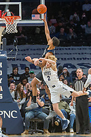 WASHINGTON, DC - JANUARY 28: Jordan Tucker #1 of Butler and Mac McClung #2 of Georgetown clash under the basket during a game between Butler and Georgetown at Capital One Arena on January 28, 2020 in Washington, DC.
