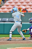 North Carolina Tar Heels catcher Brandon Martorano (4) awaits a pitch during a game against the Clemson Tigers at Doug Kingsmore Stadium on March 9, 2019 in Clemson, South Carolina. The Tigers defeated the Tar Heels 3-2 in game one of a double header. (Tony Farlow/Four Seam Images)
