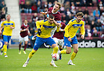 Hearts v St Johnstone....06.05.12   SPL.Marcus Haber holds off Marius Zaliukas.Picture by Graeme Hart..Copyright Perthshire Picture Agency.Tel: 01738 623350  Mobile: 07990 594431