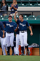Lakeland Flying Tigers right fielder Ben Verlander (32) celebrates with his teammates during the first game of a doubleheader against the St. Lucie Mets on June 10, 2017 at Joker Marchant Stadium in Lakeland, Florida.  Lakeland defeated St. Lucie 6-5 in fourteen innings.  (Mike Janes/Four Seam Images)