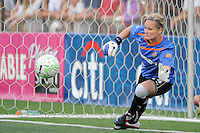 Western New York Flash goalkeeper Ashlyn Harris (24) fails to make a stop during the penalty kick shootout. The Western New York Flash defeated the Philadelphia Independence 5-4 in a penalty kick shootout after playing to a 1-1 tie during the Women's Professional Soccer (WPS) Championship presented by Citi at Sahlen's Stadium in Rochester NY, on August 27, 2011.