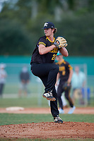 Kyle Percival (22) during the WWBA World Championship at Terry Park on October 11, 2020 in Fort Myers, Florida.  Kyle Percival, a resident of Lancaster, South Carolina who attends Andrew Jackson High School, is committed to Wake Forest.  (Mike Janes/Four Seam Images)
