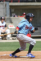 Tony Campana #24 of the Tennessee Smokies batting during  a game against the Carolina Mudcats on April 20, 2010  in Zebulon, NC.