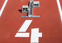 Startblock mit Bahnnummer 4. Foto: Jan Kaefer / aif