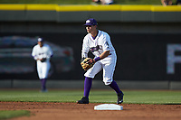 Winston-Salem Dash second baseman Mitch Roman (4) on defense against the Salem Red Sox at BB&T Ballpark on April 21, 2018 in Winston-Salem, North Carolina.  The Dash walked-off the Red Sox 4-3.  (Brian Westerholt/Four Seam Images)