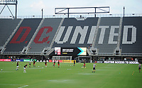 WASHINGTON, DC - AUGUST 25: D.C. United and New England Revolution warming up during a game between New England Revolution and D.C. United at Audi Field on August 25, 2020 in Washington, DC.