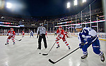 31 December 2013: Former Detroit Red Wings defenseman Nicklas Lidstrom (5) and Former Toronto Maple Leafs forward Tie Domi (28) follow the puck, during the Toronto Maple Leafs v Detroit Red Wings Alumni Showdown hockey game, at Comerica Park, in Detroit, MI.