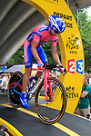 Matthew Lloyd (AUS) Lampre-ISD powers down the start ramp of the Prologue of the 99th edition of the Tour de France 2012, a 6.4km individual time trial starting in Parc d'Avroy, Liege, Belgium. 30th June 2012.<br /> (Photo by Eoin Clarke/NEWSFILE)