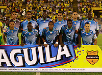 NEIVA - COLOMBIA -07 -02-2015: Los jugadores de Jaguares FC,  posan para una foto, durante partido entre Atletico Huila y Jaguares FC, por la fecha 2 de la Liga Aguila I-2015, jugado en el estadio Guillermo Plazas Alcid de la ciudad de Neiva. / The players of Jaguares FC, pose for a photo during a match between Atletico Huila and Jaguares FC for the  date 1 of the Liga Aguila I-2015 at the Guillermo Plazas Alcid Stadium in Neiva city, Photo: VizzorImage / Chello Petro / Str.