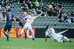 Auckland City Midfielder Fabrizio Tavano (c) trips up with Thomas Lam of SC Kitchee (l) during the Nike Lunar New Year Cup 2017 match between SC Kitchee (HKG) and Auckland City FC (NZL) on January 31, 2017 in Hong Kong, Hong Kong. Photo by Marcio Rodrigo Machado / Power Sport Images