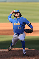 Michael Townsend (29) of the UCLA Bruins pitches against the Cal State Fullerton Titans at Jackie Robinson Stadium on March 6, 2021 in Los Angeles, California. UCLA defeated Cal State Fullerton, 6-1. (Larry Goren/Four Seam Images)