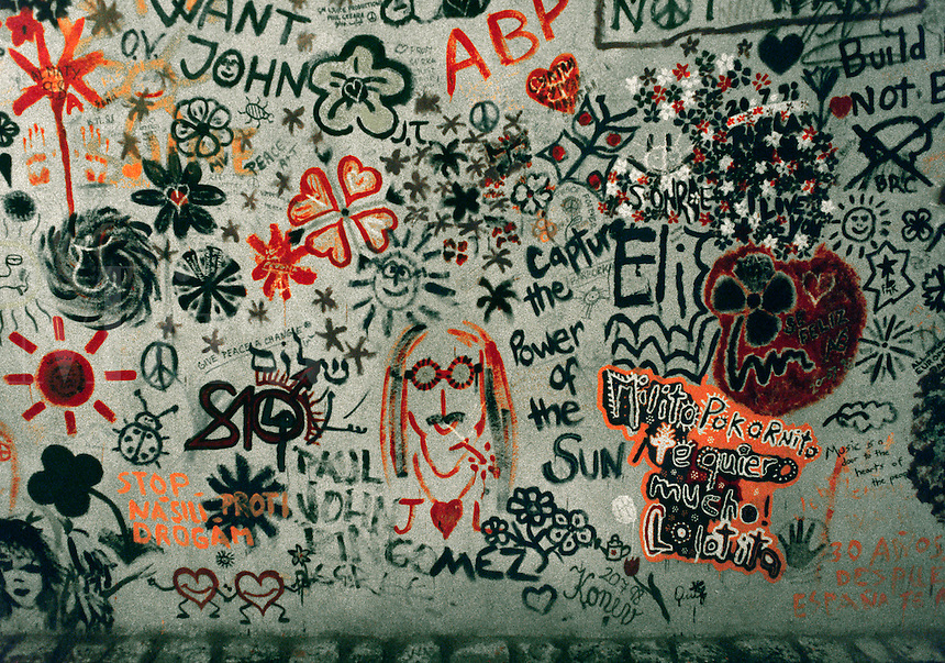The JOHN LENNON WALL is a tribute to the legend who preached peace & love through his music - PRAGUE, CZECH REPUBLIC.