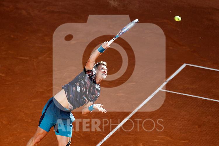 Tomas Berdych, Czech Republic, during Madrid Open Tennis 2015 match.May, 8, 2015.(ALTERPHOTOS/Acero)