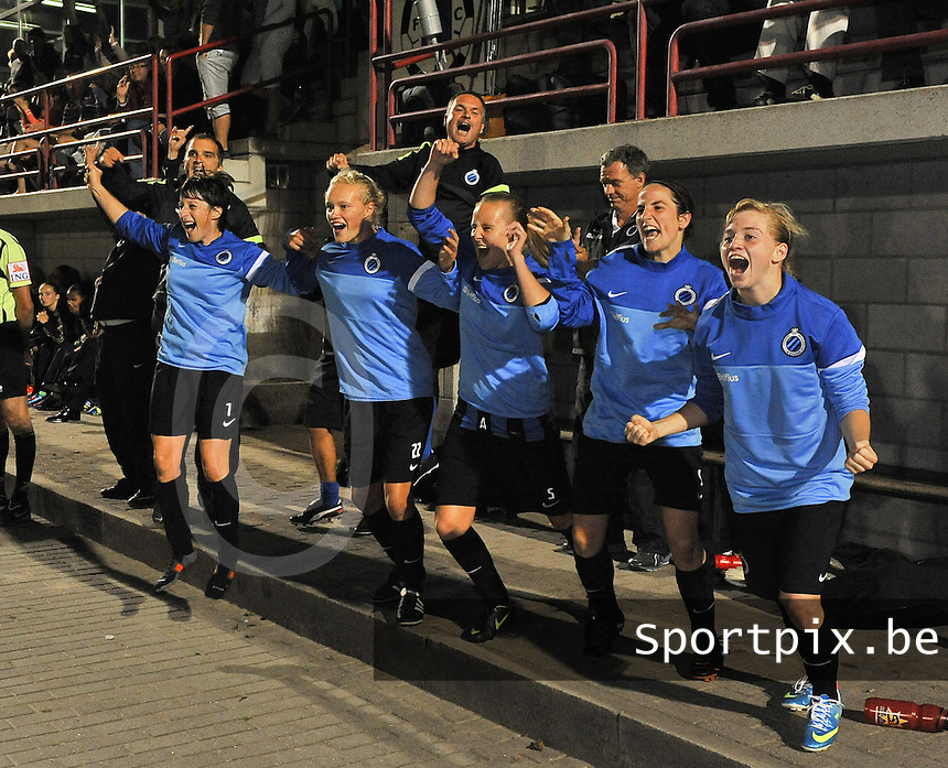 20130830 - VARSENARE , BELGIUM : Brugge's bench pictured when celebrating the draw as a victory over Ajax during the female soccer match between Club Brugge Vrouwen and Ajax Amsterdam Dames , of the first matchday in the BENELEAGUE competition. Friday 30 August 2013. PHOTO DAVID CATRY