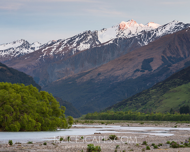 Dawn over Rees River and Southern Alps Southern Alps, Mount Aspiring National Park, UNESCO World Heritage Area, Central Otago, New Zealand, NZ