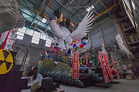 """Europe, Italy, Tuscany, Viareggio, Fabrizio Galli, in his laboratory, and the 2018  chariot entitled """"the peace of crystal."""""""