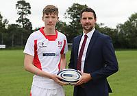 Ulster Rugby Schools 2018-2019<br /> <br /> Rainey Endowed player David Dripps with Danske Bank representative Ian Russell.<br /> <br /> Photo by John Dickson / DICKSONDIGITAL