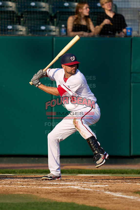 Harrisburg Senators Jordy Mercer (37), on rehab assignment from the Washington Nationals, bats during a game against the Bowie Baysox on September 8, 2021 at FNB Field in Harrisburg, Pennsylvania.  (Mike Janes/Four Seam Images)