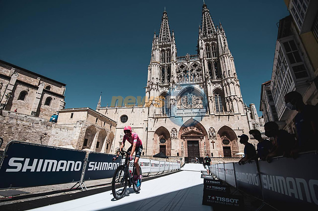 EF Education-Nippo riders recon Stage 1 of La Vuelta d'Espana 2021, a 7.1km individual time trial around Burgos, Spain. 14th August 2021. <br /> Picture: Unipublic/Charly Lopez | Cyclefile<br /> <br /> All photos usage must carry mandatory copyright credit (© Cyclefile | Unipublic/Charly Lopez)