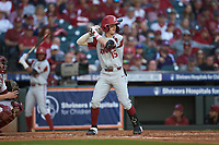 Casey Martin (15) of the Arkansas Razorbacks at bat against the Oklahoma Sooners in game two of the 2020 Shriners Hospitals for Children College Classic at Minute Maid Park on February 28, 2020 in Houston, Texas. The Sooners defeated the Razorbacks 6-3. (Brian Westerholt/Four Seam Images)