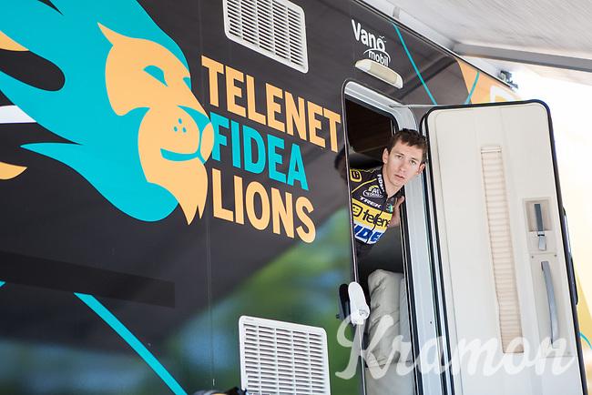 Lars van der Haar (NED/Telenet Fidea Lions) peeping out the camper before start<br /> <br /> Baloise Belgium Tour 2017<br /> Stage 3: ITT Beveren - Beveren (13.4km)