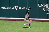 Vanderbilt Commodores center fielder Enrique Bradfield Jr. (51) makes a catch against the South Carolina Gamecocks at Hawkins Field in Nashville, Tennessee, on March 21, 2021. The Gamecocks won 6-5. (Danny Parker/Four Seam Images)