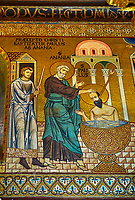 Medieval Byzantine style mosaics of St Paul being bapitised  in the Palatine Chapel, Cappella Palatina, Palermo, Italy