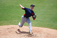 Pitcher Michael Bienlien (30) of Great Bridge High School in Chesapeake, Virginia playing for the Cleveland Indians scout team during the East Coast Pro Showcase on July 30, 2015 at George M. Steinbrenner Field in Tampa, Florida.  (Mike Janes/Four Seam Images)