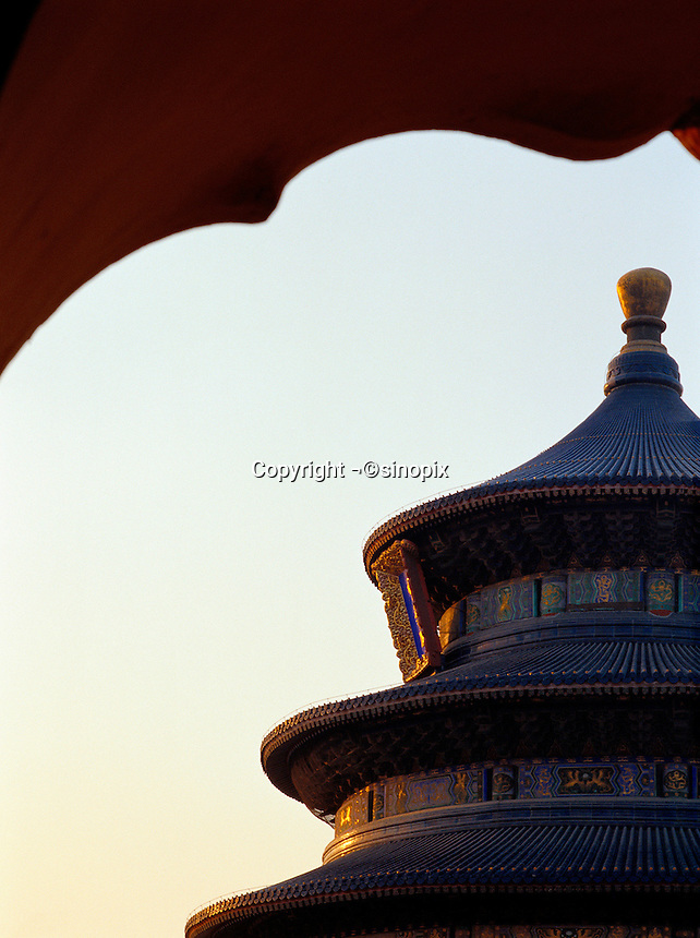 The Hall of Prayer for Good Harvests in Tiantan Park in Beijing. The ancient Temple of Heaven is one of China's premier tourist attractions. Beijing, China.