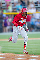 Anthony Ray (3) of the Johnson City Cardinals hustles down the first base line against the Burlington Royals at Burlington Athletic Park on July 14, 2014 in Burlington, North Carolina.  The Cardinals defeated the Royals 9-4.  (Brian Westerholt/Four Seam Images)