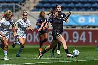 BRIDGEVIEW, IL - JUNE 5: Arin Wright #3 of the Chicago Red Stars plays the ball during a game between North Carolina Courage and Chicago Red Stars at SeatGeek Stadium on June 5, 2021 in Bridgeview, Illinois.