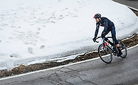 Filippo Ganna (ITA/INEOS Grenadiers) coming down the misty Passo Giau<br /> <br /> due to the bad weather conditions the stage was shortened (on the raceday) to 153km and the Passo Giau became this years Cima Coppi (highest point of the Giro).<br /> <br /> 104th Giro d'Italia 2021 (2.UWT)<br /> Stage 16 from Sacile to Cortina d'Ampezzo (shortened from 212km to 153km)<br /> <br /> ©kramon