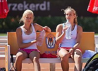 August 9, 2014, Netherlands, Rotterdam, TV Victoria, Tennis, National Junior Championships, NJK, Final double girls 16 years: Isolde de Jong(R) and  Nina Kruijer (NED)<br /> Photo: Tennisimages/Henk Koster