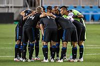 SAN JOSE, CA - SEPTEMBER 19: San Jose Earthquakes team huddles during a game between Portland Timbers and San Jose Earthquakes at Earthquakes Stadium on September 19, 2020 in San Jose, California.