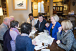 © Joel Goodman - 07973 332324 . 15/01/2015 . Stockport , UK . Deputy Prime Minister Nick Clegg (3rd from right) meets with members of High Lane Residents' Association and Lib Dem PPC for Hazel Grove , Lisa Smart (2nd from right) , at the Red Lion Inn , High Lane , Hazel Grove . Photo credit : Joel Goodman