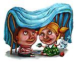 Illustrative image of children enjoying tea party at home