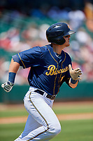 Montgomery Biscuits designated hitter Michael Brosseau (16) run to first base during a game against the Biloxi Shuckers on May 8, 2018 at Montgomery Riverwalk Stadium in Montgomery, Alabama.  Montgomery defeated Biloxi 10-5.  (Mike Janes/Four Seam Images)