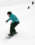 WATERTOWN, CT -03 January 2005 -010306JS02---Julie Kelly, 14, of Watertown takes her snowboard down a hill at the Taft School in Watertown on Wednesday. The winter storm that passed through the area dumped more than a foot of snow in some areas of the state. Jim Shannon Republican American --  Julie Kelly; Taft School; Watertown are CQ