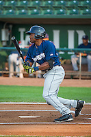 Malik Collymore (34) of the Helena Brewers at bat against the Ogden Raptors in Pioneer League action at Lindquist Field on August 19, 2015 in Ogden, Utah. Ogden defeated Helena 4-2.  (Stephen Smith/Four Seam Images)
