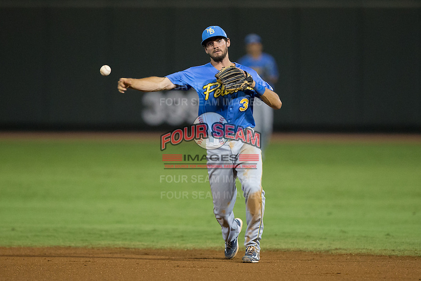Myrtle Beach Pelicans second baseman Chesney Young (3) makes a throw to first base against the Winston-Salem Dash at BB&T Ballpark on September 9, 2015 in Winston-Salem, North Carolina.  The Dash defeated the Pelicans 4-2 to take a 1-0 lead in the best of 3 series. (Brian Westerholt/Four Seam Images)