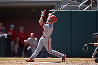 Evan Edwards (18) of the North Carolina State Wolfpack follows through on his swing against the Northeastern Huskies at Doak Field at Dail Park on June 2, 2018 in Raleigh, North Carolina. The Wolfpack defeated the Huskies 9-2. (Brian Westerholt/Four Seam Images)