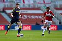 13th March 2021; Riverside Stadium, Middlesbrough, Cleveland, England; English Football League Championship Football, Middlesbrough versus Stoke City; Harry Souttar of Stoke City in action watched by Chuba Akpom of Middlesbrough